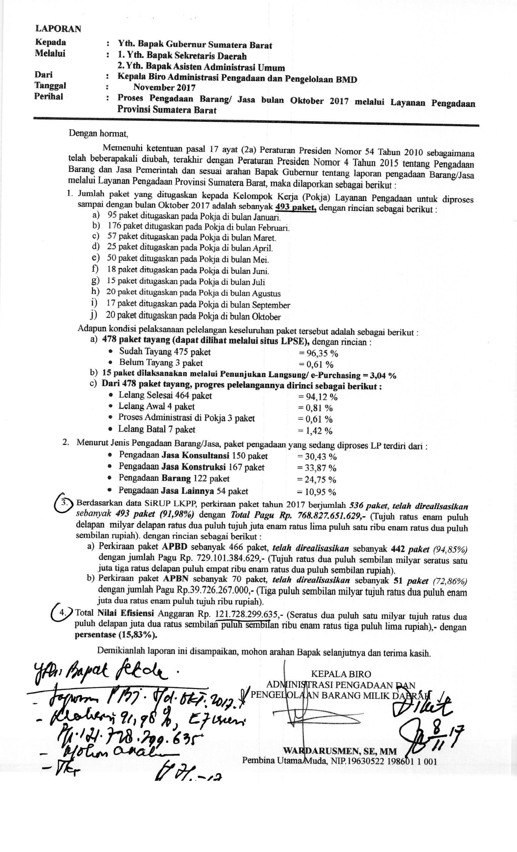Proses Pengadaan Barang/Jasa Bulan Oktober 2017 Melalui Layanan Pengadaan Provinsi Sumatera Barat
